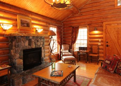 Yellowstone Cabin Living Room Cabin and Fireplace