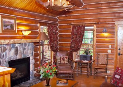 Madison Cabin Living Room and Fireplace